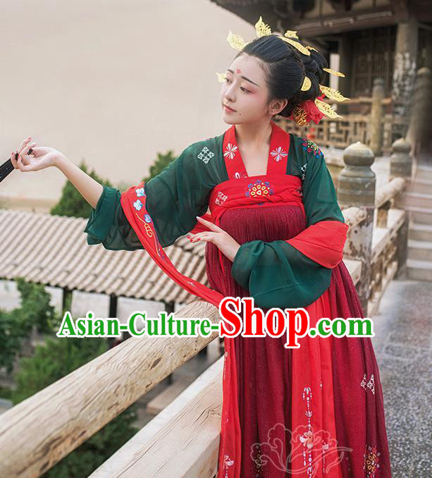 Asian China Tang Dynasty Imperial Consort Costume, Traditional Ancient Chinese Palace Lady Hanfu Clothing for Women