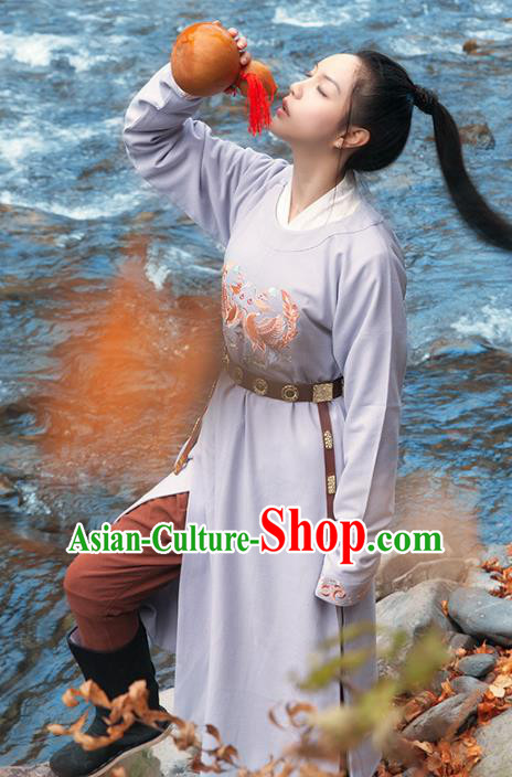Asian China Tang Dynasty Swordsman Costume, Traditional Ancient Chinese Imperial Bodyguard Hanfu Embroidered Clothing for Women
