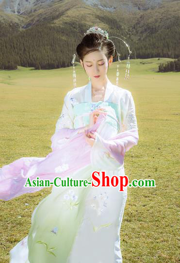 Asian China Tang Dynasty Palace Lady Costume, Traditional Ancient Chinese Imperial Princess Hanfu Embroidered Clothing for Women