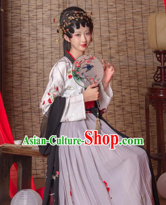 Asian China Tang Dynasty Imperial Consort White Costume Complete Set, Traditional Ancient Chinese Imperial Princess Hanfu Embroidered Clothing for Women