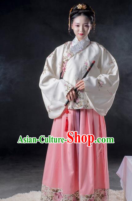 Asian China Ming Dynasty Imperial Consort Costume Complete Set, Traditional Ancient Chinese Imperial Princess Hanfu Embroidered Clothing for Women
