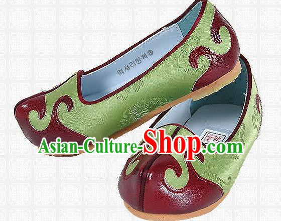 Traditional Korean National Embroidered Shoes, Asian Korean Hanbok Children Green Shoes for Boys