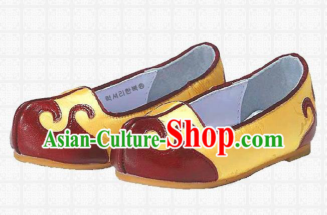 Traditional Korean National Embroidered Shoes, Asian Korean Hanbok Children Yellow Shoes for Boys