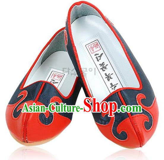 Traditional Korean National Embroidered Deep Blue Shoes, Asian Korean Hanbok Children Shoes for Boys