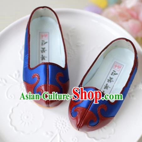 Traditional Korean National Embroidered Shoes, Asian Korean Hanbok Children Blue Shoes for Boys