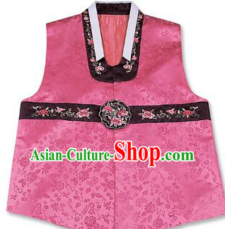 Traditional Korean Handmade Hanbok Embroidered Pink Vest, Asian Korean Apparel Hanbok Embroidery Bridegroom Waistcoat for Men