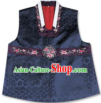 Traditional Korean Handmade Hanbok Embroidered Navy Vest, Asian Korean Apparel Hanbok Embroidery Bridegroom Waistcoat for Men