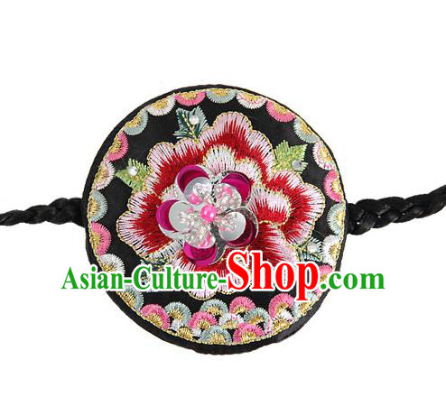 Traditional Korean Hair Accessories Embroidered Flowers Hairband, Asian Korean Fashion Headwear Wedding Hair Clasp for Kids