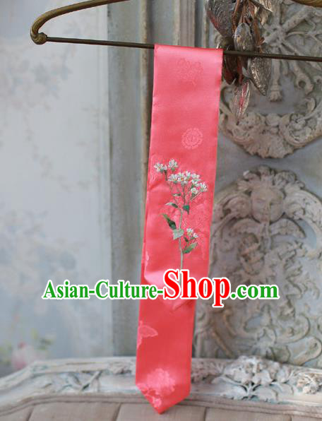 Traditional Korean Hair Accessories Embroidered Watermelon Red Hair Ribbon, Asian Korean Fashion Wedding Headband for Kids