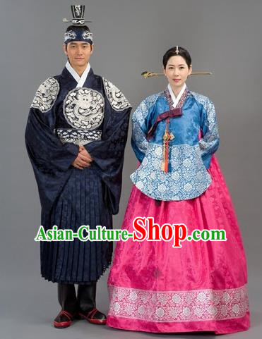 Traditional Korean National Handmade Court Embroidered Wedding Clothing, Asian Korean Bride Costume for Women
