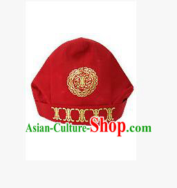 Traditional Korean Hair Accessories Embroidered Red Hats, Asian Korean Fashion National Boys Headwear for Kids