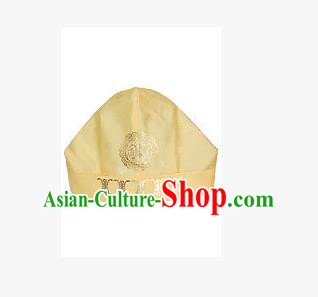 Traditional Korean Hair Accessories Embroidered Yellow Hats, Asian Korean Fashion National Boys Headwear for Kids