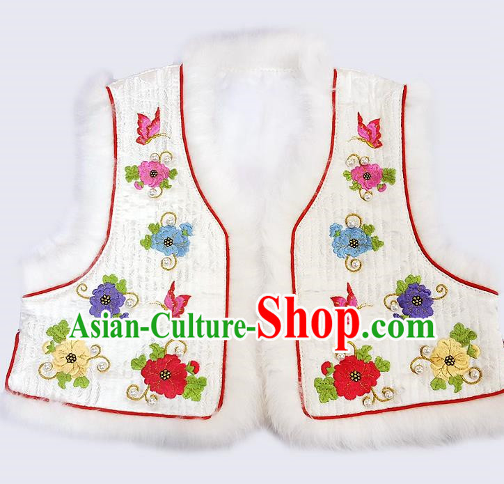Traditional Korean National Handmade Court Embroidered White Vest, Asian Korean Bride Waistcoat Costume for Kids