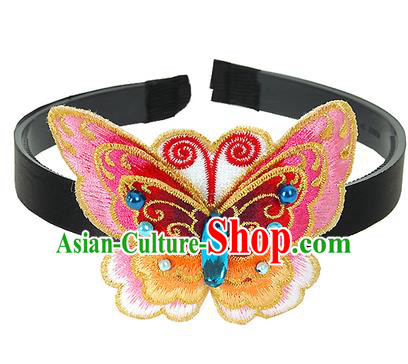 Traditional Korean Hair Accessories Embroidered Pink Butterfly Hair Clasp, Asian Korean Fashion Wedding Headwear for Kids