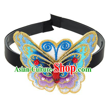Traditional Korean Hair Accessories Embroidered Blue Butterfly Hair Clasp, Asian Korean Fashion Wedding Headwear for Kids