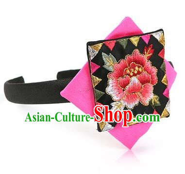 Traditional Korean Hair Accessories Embroidered Hair Clasp, Asian Korean Fashion Wedding Pink Headband for Kids