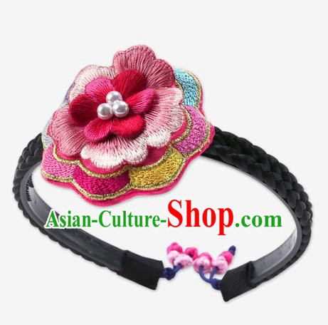 Traditional Korean Hair Accessories Embroidered Flowers Hair Clasp, Asian Korean Fashion Wedding Headband for Kids