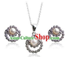 Traditional Korean Accessories Crystal Pearl Necklace and Earrings, Asian Korean Fashion Wedding Jewelry for Women