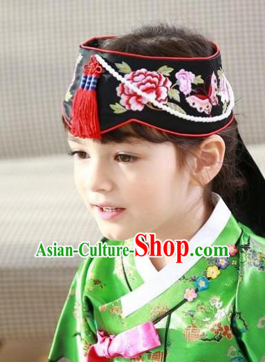 Traditional Korean Hair Accessories Embroidered Hat, Asian Korean Fashion Wedding Black Headband for Kids