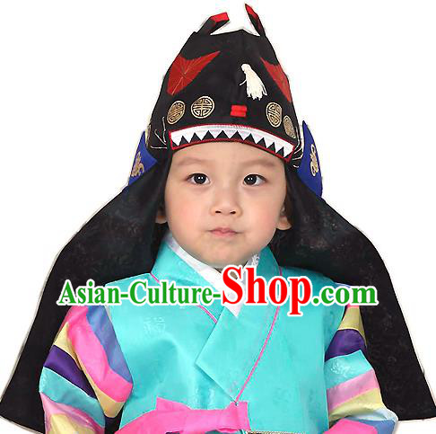 Traditional Korean Hair Accessories Embroidered Hat, Asian Korean Fashion Prince Black Hats for Kids
