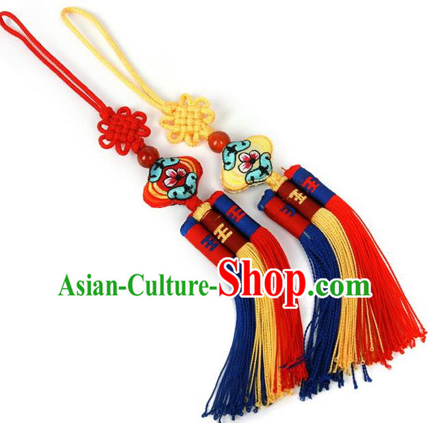 Traditional Korean Accessories Embroidered Waist Pendant, Asian Korean Fashion Wedding Tassel Waist Decorations for Kids