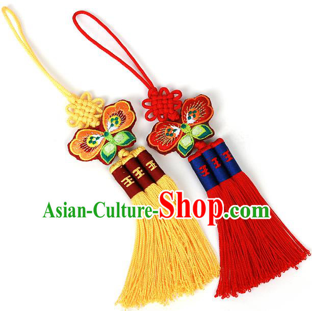 Traditional Korean Accessories Embroidered Waist Pendant, Asian Korean Fashion Wedding Butterfly Tassel Waist Decorations for Kids