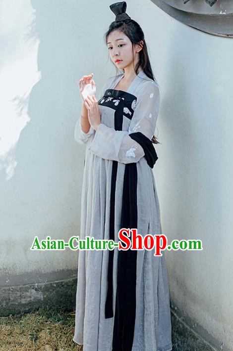 Asian China Tang Dynasty Young Lady Costume Complete Set, Traditional Ancient Chinese Palace Princess Hanfu Clothing for Women