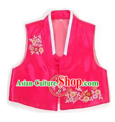 Traditional Korean Handmade Hanbok Red Embroidered Vest, Asian Korean Apparel Hanbok Embroidery Bride Waistcoat for Girls