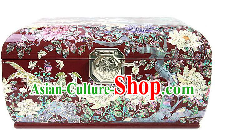 Traditional Korean Craft Handmade Red Shell Cosmetic Container, Asian Korean Wedding Jewellery Box for Women