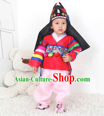 Traditional Korean Handmade Hanbok Embroidered Red Costume, Asian Korean Apparel Hanbok Embroidery Clothing for Boys