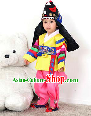 Traditional Korean Handmade Hanbok Embroidered Yellow Costume, Asian Korean Apparel Hanbok Embroidery Clothing for Boys
