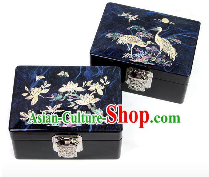 Traditional Korean Craft Handmade Printing Shell Cosmetic Container, Asian Korean Wedding Jewellery Box for Women