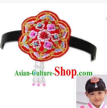Traditional Korean Hair Accessories Embroidered Flowers Red Hair Clasp, Asian Korean Fashion Headwear Headband for Kids