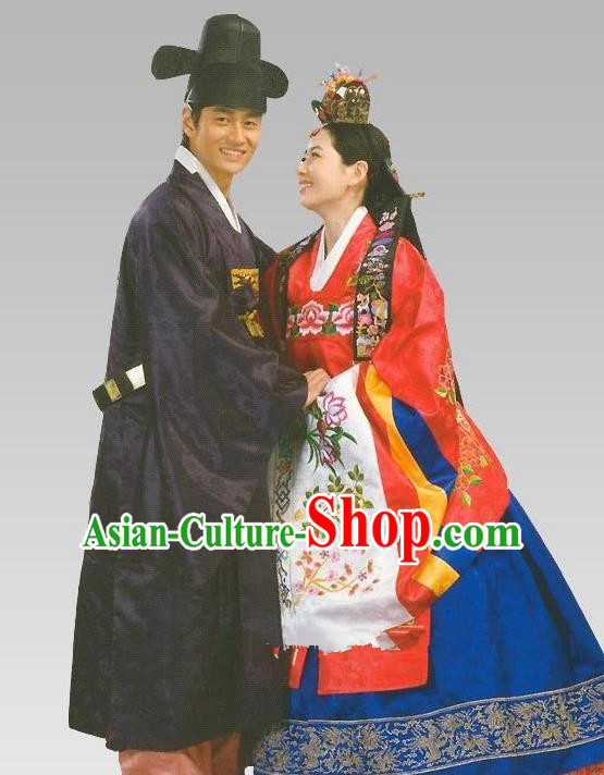 Traditional Korean Handmade Formal Occasions Wedding Costume Complete Set, Asian Korean Apparel Bride and Bridegroom Hanbok Clothing
