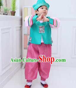 Traditional Korean Handmade Hanbok Embroidered Blue Formal Occasions Costume, Asian Korean Apparel Hanbok Clothing for Boys