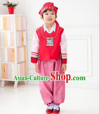 Traditional Korean Handmade Hanbok Embroidered Red Formal Occasions Costume, Asian Korean Apparel Hanbok Clothing for Boys