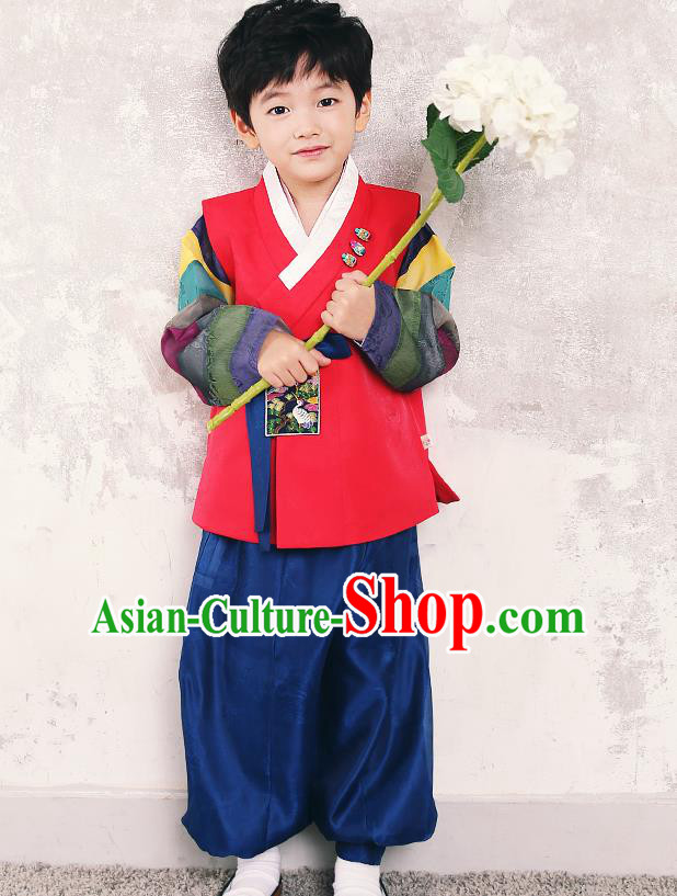 Traditional Korean Handmade Hanbok Embroidered Formal Occasions Costume, Asian Korean Apparel Hanbok Clothing for Boys