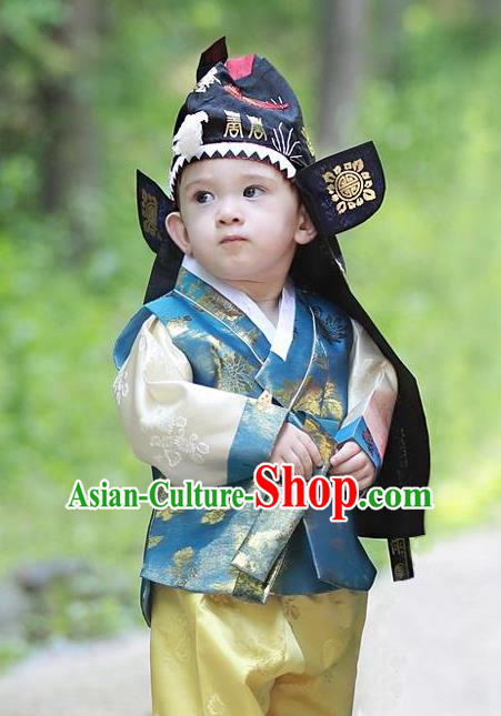 Traditional Korean Hair Accessories Embroidered Hats, Asian Korean Fashion National Boys Headwear for Kids
