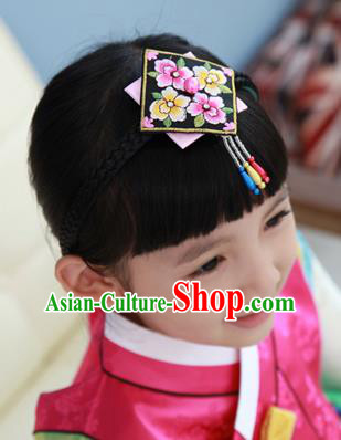 Traditional Korean Hair Accessories Embroidered Black Hair Clasp, Asian Korean Fashion Headwear Headband for Kids