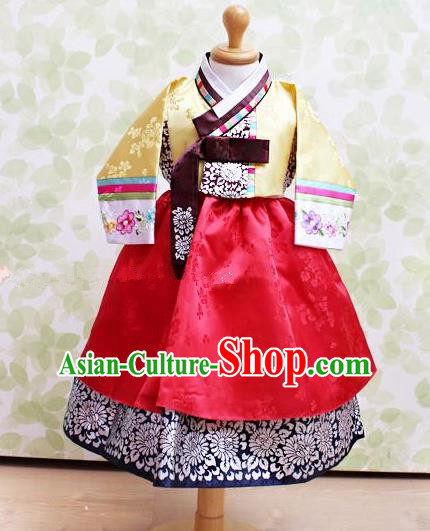 Traditional Korean Handmade Embroidered Formal Occasions Costume, Asian Korean Apparel Hanbok Red Dress Clothing for Girls