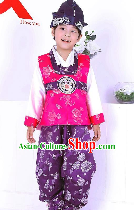 Traditional Korean Handmade Formal Occasions Pink Costume and Hats, Asian Korean Apparel Hanbok Clothing for Boys