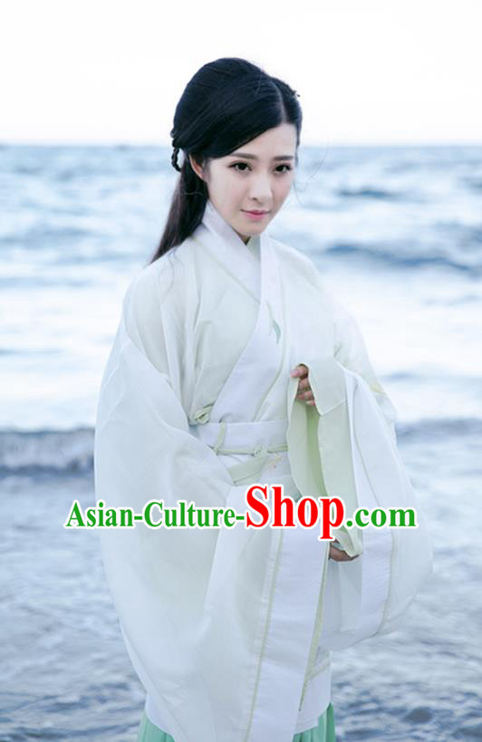 Asian China Han Dynasty Palace Lady Embroidered Costume, Traditional Chinese Ancient Princess Hanfu White Curve Bottom Clothing for Women