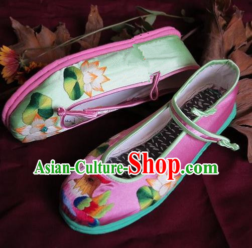 Traditional Chinese Ancient Princess Shoes Pink Embroidered Boots, China Handmade Embroidery Lotus Hanfu Shoes for Women