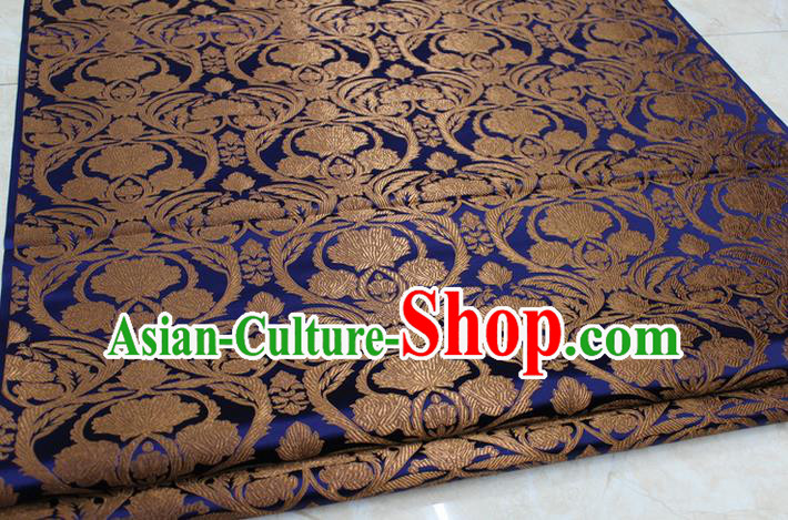 Chinese Traditional Royal Palace Pattern Golden Brocade Mongolian Robe Tibetan Robe Fabric, Chinese Ancient Costume Satin Hanfu Tang Suit Material