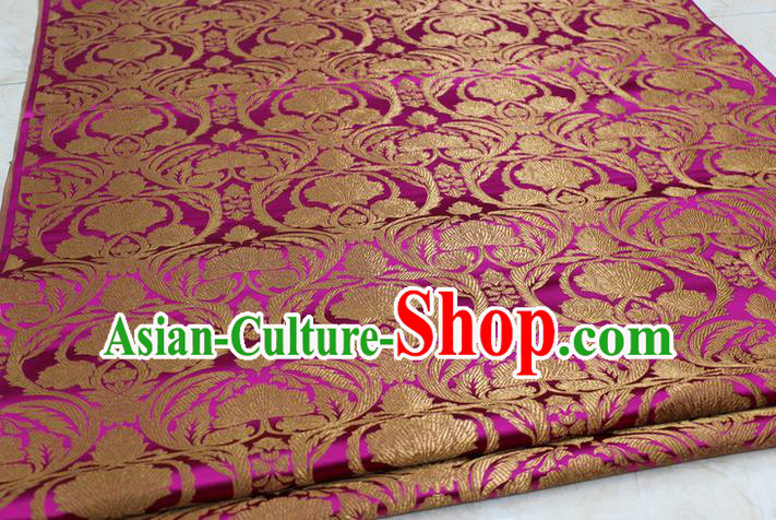 Chinese Traditional Royal Palace Pattern Rosy Brocade Mongolian Robe Tibetan Robe Fabric, Chinese Ancient Costume Satin Hanfu Tang Suit Material