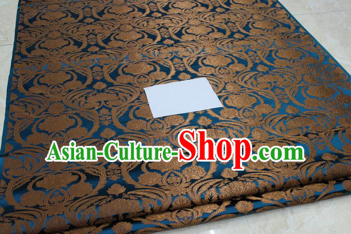 Chinese Traditional Royal Palace Pattern Blue Brocade Mongolian Robe Tibetan Robe Fabric, Chinese Ancient Costume Satin Hanfu Tang Suit Material