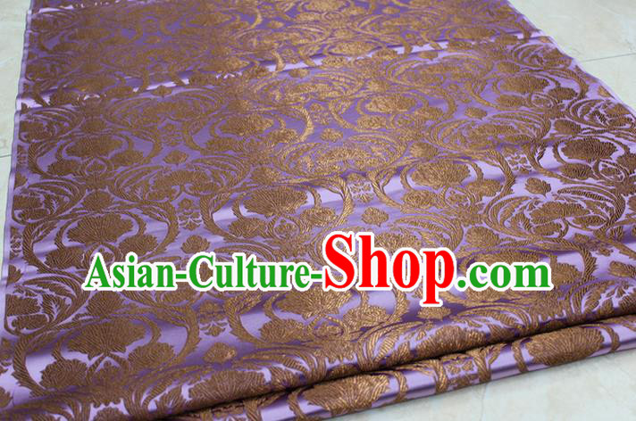 Chinese Traditional Royal Palace Pattern Lilac Brocade Mongolian Robe Tibetan Robe Fabric, Chinese Ancient Costume Satin Hanfu Tang Suit Material