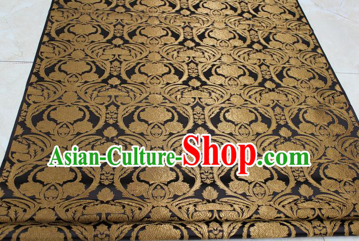 Chinese Traditional Royal Palace Pattern Deep Brown Brocade Mongolian Robe Tibetan Robe Fabric, Chinese Ancient Costume Satin Hanfu Tang Suit Material