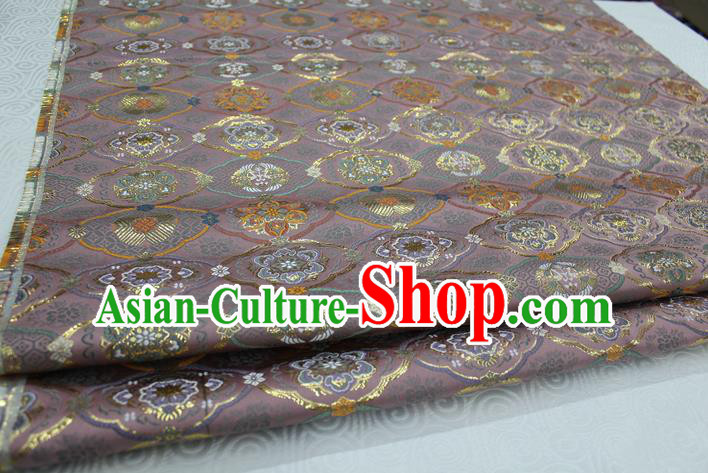 Chinese Traditional Royal Palace Pattern Deep Pink Brocade Mongolian Robe Tibetan Robe Fabric, Chinese Ancient Costume Satin Hanfu Kimono Material