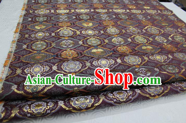Chinese Traditional Royal Palace Pattern Purple Brocade Mongolian Robe Tibetan Robe Fabric, Chinese Ancient Costume Satin Hanfu Kimono Material